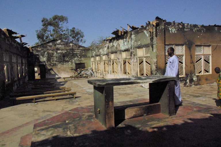 <p>Attacks on churches are not uncommon in Nigeria. Above is the debris from a blast at the Holy Cross Church in the northern Nigerian city of Kaduna in November 2002.</p>