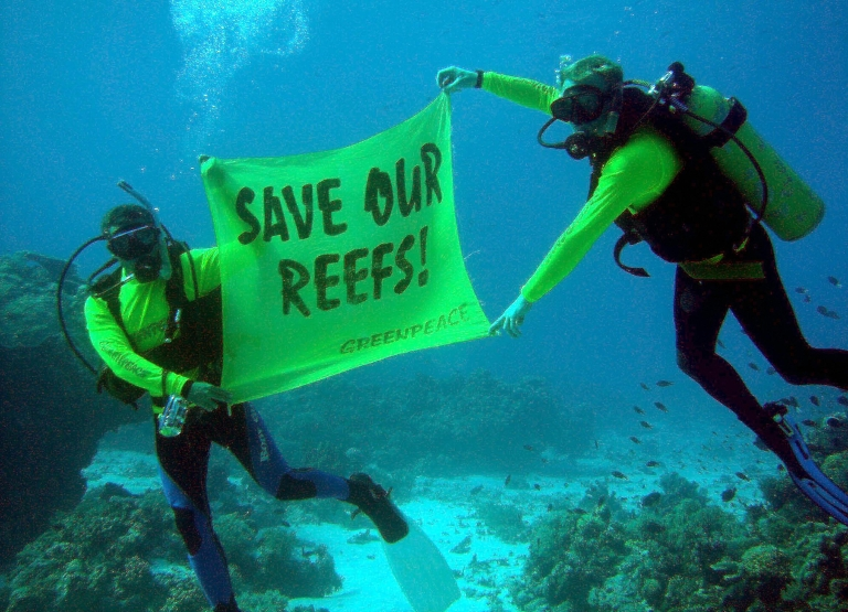 <p>Crew members from the Greenpeace flagship Rainbow Warrior display a banner saying 'Save our reefs!' at the world famous Tubbataha Reef National Marine Park and UNESCO World Heritage Site in the southern Philippines, 30 October 2005.</p>