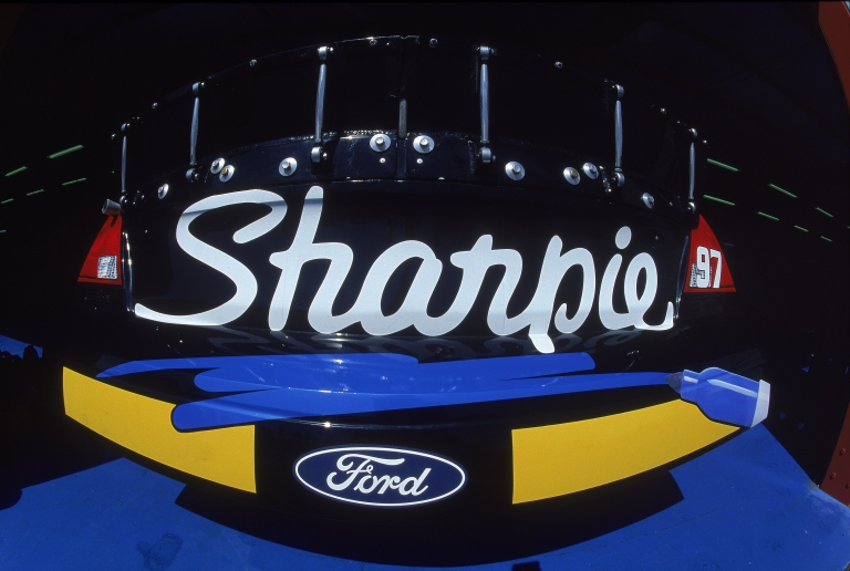 <p>A close up of the Sharpie Logo on the #97 Roush Racing Rubbermaid/Sharpie Ford Taurus car driven by Kurt Busch for Roush Racing during the Talladega 500.</p>