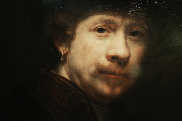 <p>Photo shows a detail from a portrait in the exhibition of Dutch artist Rembrandt van Rijn (1606-1669).</p>