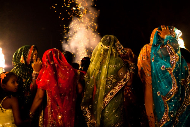 <p>Members from the Rajan Band, Kotla Mubarakpur prepare prior to performing at a wedding on November 23, 2011 in New Delhi, India.</p>