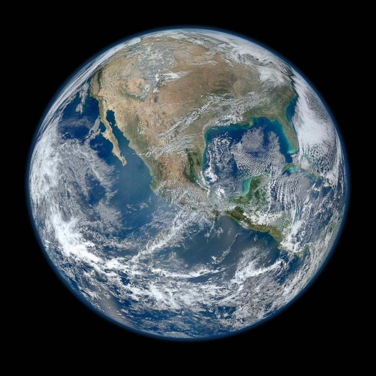 <p>A 'Blue Marble' image of the Earth taken from the VIIRS instrument aboard NASA's most recently launched Earth-observing satellite - Suomi NPP. This composite image uses a number of swaths of the Earth's surface taken on January 4, 2012.</p>