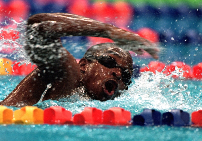 <p>Eric ''the Eel'' Moussambani of Equatorial Guinea in action during the Mens 100m Freestyle Heats at the Sydney International Aquatic Centre on Day Four of the Sydney 2000 Olympic Games in Sydney, Australia.</p>