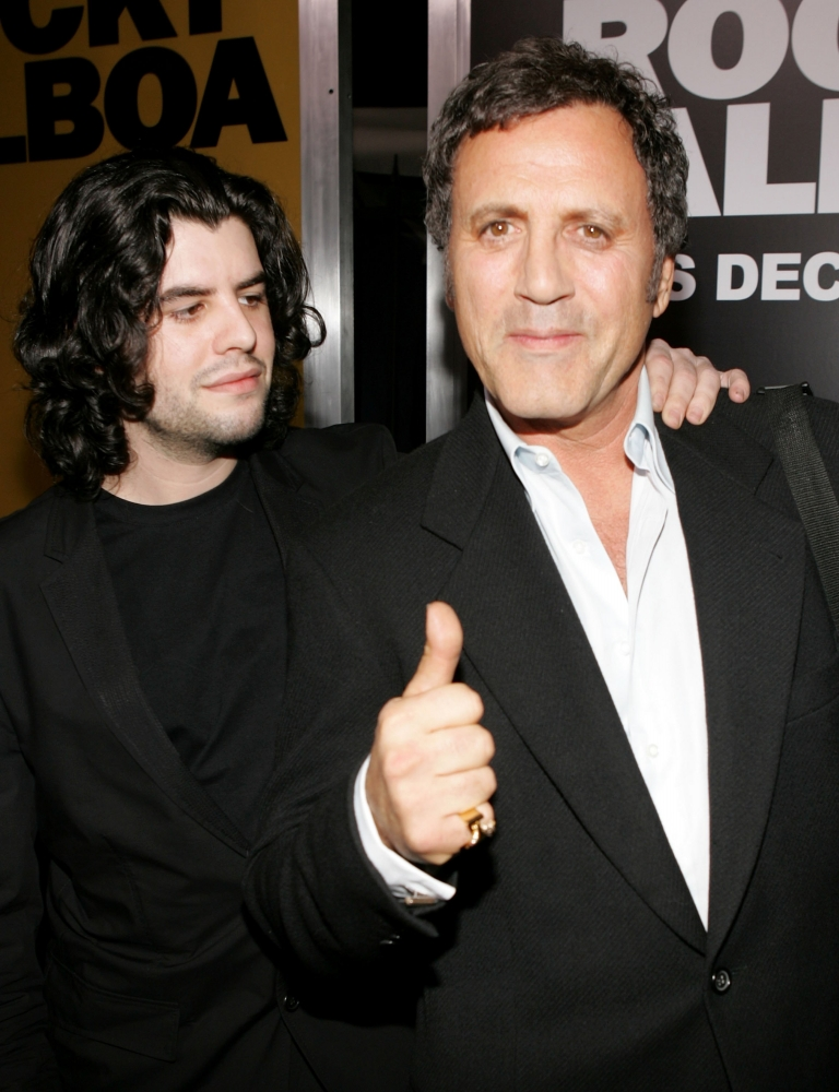 <p>Actors Sage Stallone and Frank Stallone arrives at the premiere of MGM's