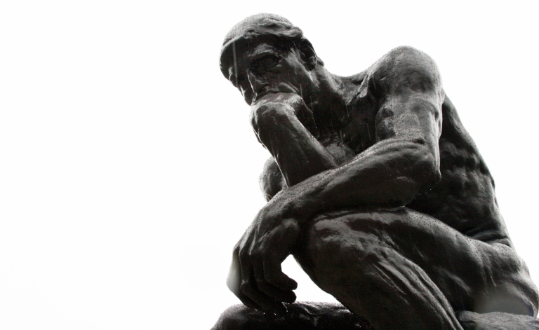 <p>Rodin's 'Thinker' used to