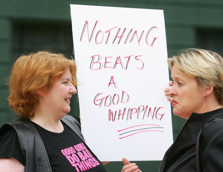 <p>Protesters prepare to march down Lambton Quay in the CBD to Parliament during a protest march over child smacking bill on March 28, 2007 in Wellington, New Zealand. A new study suggests even mild spanking may lead to an increase risk of mental disorders.</p>