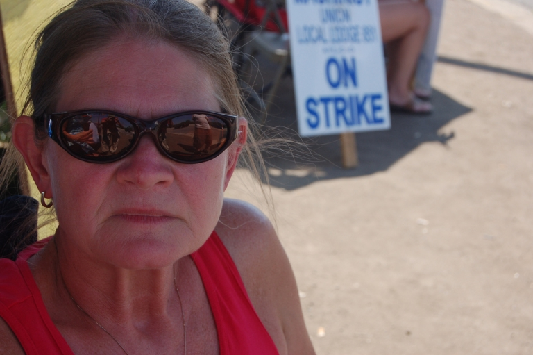<p>One of 780 striking workers outside the Caterpillar plan in Joliet, Illinois on August 1. The strike began on May 1 and ended August 17 after workers voted to accept a deal.</p>