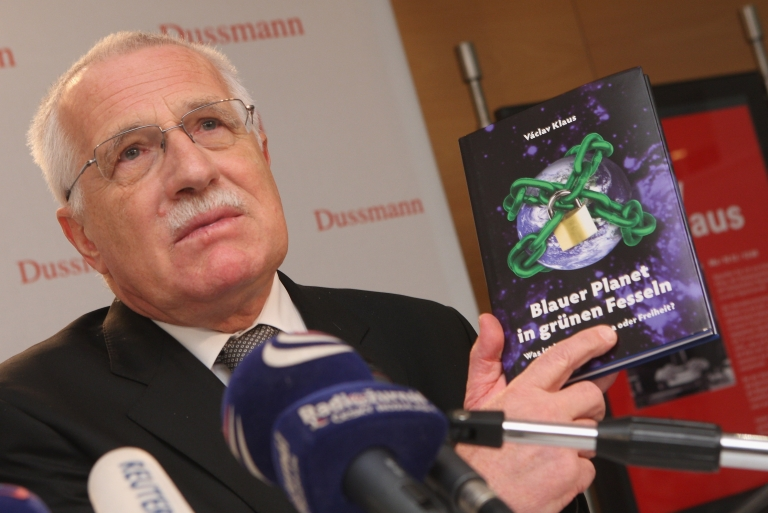 <p>Czech President Vaclav Klaus speaks to the media while presenting his climate change skeptic book 'Blue, Not Green Planet'. A new study at Yale found that climate change deniers are not ignorant about science but rather just use science to fit their cultural values.</p>