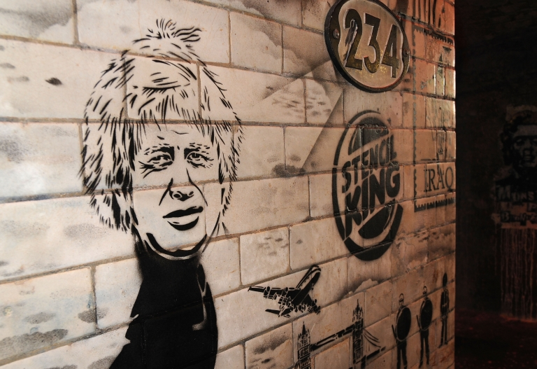 <p>A stencil art piece depicting new London Mayor Boris Johnson is pictured as a giant new exhibition space created by famed graffiti artist Banksy opens to the public on May 3, 2008.</p>