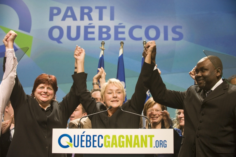 <p>Pauline Marois, chief of the Parti Quebecois, pictured in December 2008 celebrating with her supporters after the elections results announced at Olympia theater in Montreal, Quebec, Canada. Liberal Premier Jean Charest won a majority in those elections in Quebec.</p>
