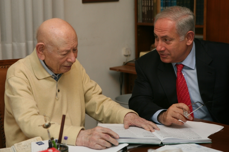 <p>In this handout photo, Benjamin Netanyahu (R), head of the right-wing Likud party, confers with his father Ben-Zion Netanyahu in his father's house Feb. 8, 2009 in Jerusalem.</p>