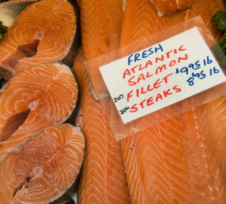 <p>Fresh Atlantic Salmon fillets and steaks are seen for sale inside Washington, D.C.'s Eastern Market, July 31, 2009.</p>