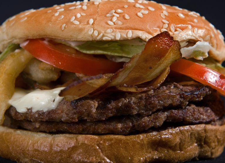 <p>Burger King's Angry Triple Whopper includes three beef patties and bacon.</p>
