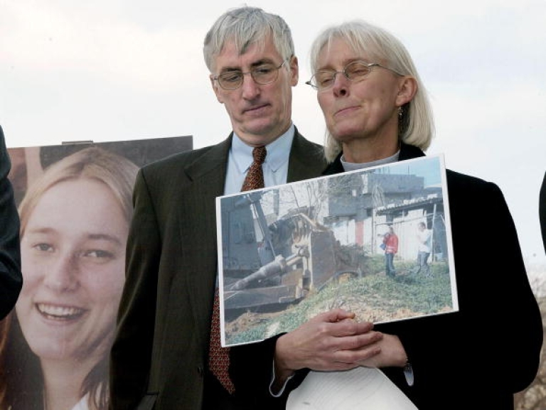 <p>Craig and Cynthia Corrie pause during a press conference on Capitol Hill in Washington, DC on March 19, 2003, as they talk about their daughter Rachel who was run over by an Israeli bulldozer during a demonstration in the Gaza Strip in 2003.</p>