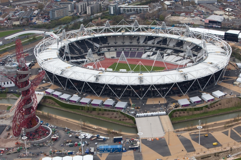 <p>An aerial view of the Olympic stadium in London.</p>