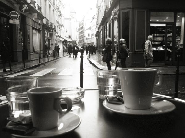 <p>The view from a Paris cafe on Jan. 11, 2013.