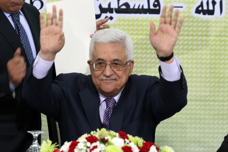 <p>Palestinian Authority president and head of the Fatah movement Mahmud Abbas at a Fatah 'Revolutionary Council' meeting in Ramallah on October 26, 2011.</p>