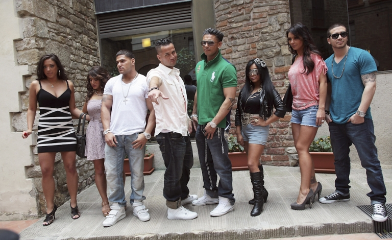 <p>Sammi 'Sweetheart' Gianicola, Deena Nicole Cortese, Ronnie Ortiz Magro, Mike 'The Situation' Sorrentino, Paul 'Pauly D' DelVecchio, Nicole 'Snooki' Polizzi, Jenny 'JWoww' Farley and Vinny Guadagnino attend 'Jersey Shore' photocall on May 19, 2011 in Florence, Italy. Teen clothing retailer Abercrombie &amp; Fitch Co has offered to pay Jersey Shore cast members to stop wearing its clothes.</p>