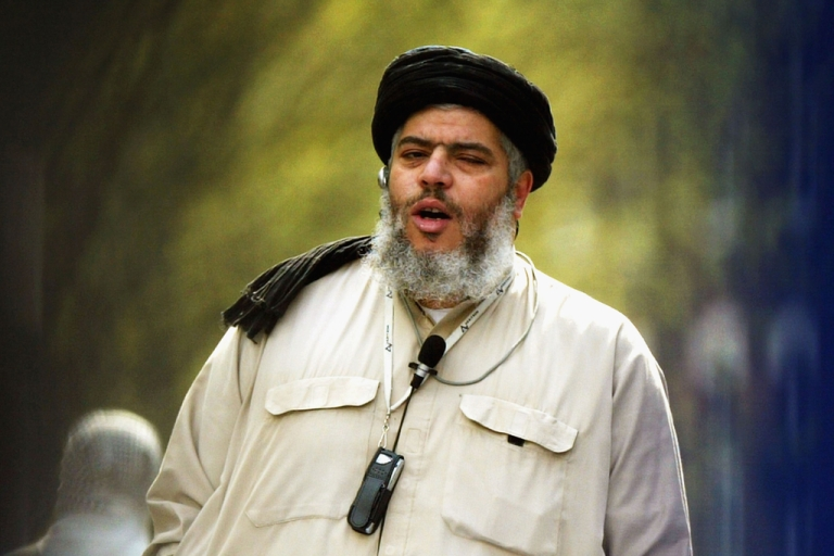 <p>Radical Muslim cleric Abu Hamza on April 16, 2004 in London. The European Court of Human Rights approved Hamza's extradition from the UK to the US on April 10, 2012, along with four other suspected terrorists, setting a precedent for extradition between the countries.</p>