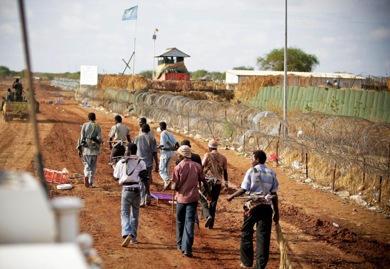 <p>After the occupation. In Abyei armed militia roam the streets outside the fortified UN compound where four helicopters were shot at by unidentified gunmen.</p>