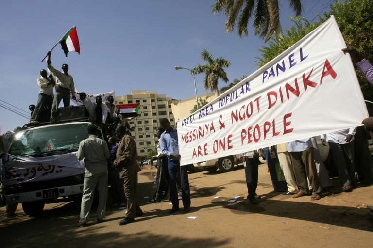 <p>Some 100 protesters from the nomadic Arab Messiriya tribe demonstrate in Khartoum, Sudan, on Nov. 28, 2012. The 20th African Union (AU) Summit is set to gather in Addis Ababa, Ethiopia, on Jan. 21, 2013, to discuss measures to leads the Sudans toward peace — including ways to ensure the final status of the hotly-contested region of Abyei.</p>
