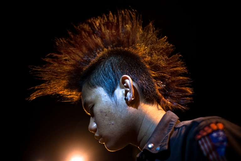 <p>An Acehnese punker with Mohawk hairstyle in Banda Aceh, Aceh Province, Indonesia.</p>