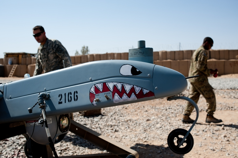 <p>Soldiers ready a Shadow drone for takeoff at Forward Operating Base Pasab.  The unarmed drones are equipped with high-tech surveillance equipment.</p>