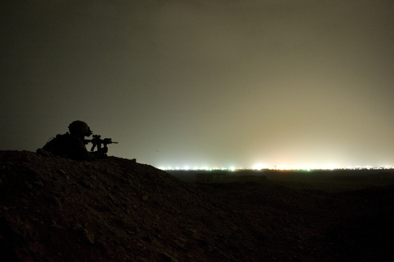 <p>A US soldier on lookout in Afghanistan.</p>