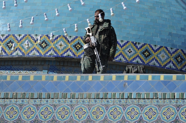 <p>Afghan security personnel prepare for New Year's celebrations in Mazar-e-Sharif. Mazar will be one of the first cities to be fully secured by Afghan forces.</p>