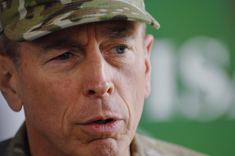 <p>In this handout image provided by the U.S. Navy, Commander of the International Security Assistance Force and commander of U.S. Forces Afghanistan, U.S. Army Gen. David Petraeus speaks with members of the media.</p>