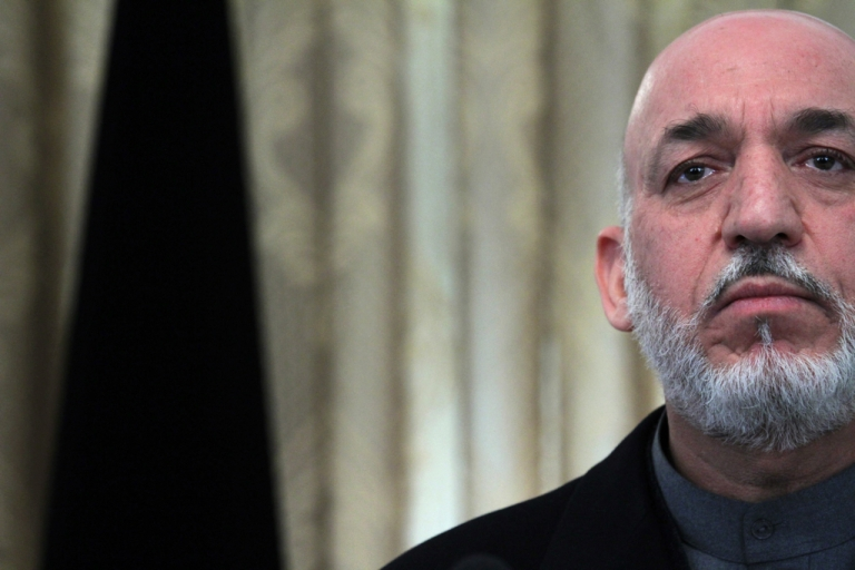 <p>Afghan President Hamid Karzai holds a press conference at the Presidential Palace on Feb. 8, 2011 in Kabul, Afghanistan.</p>