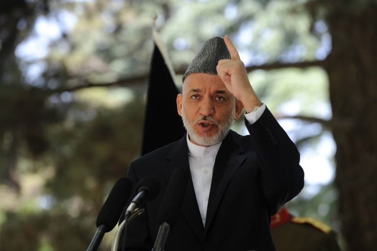 <p>Afghan President Hamid Karzai speaks during a press conference at the Presidential palace in Kabul on May 31, 2011.</p>