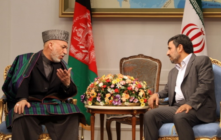 <p>Iranian President Mahmoud Ahmadinejad met with Afghanistan's Hamid Karzai in Tehran on March 26, 2011, before his visit to New Delhi this week.  India's connections with Afghanistan and Iran may offer Kabul an alternative to becoming a vassal state of Pakistan.</p>