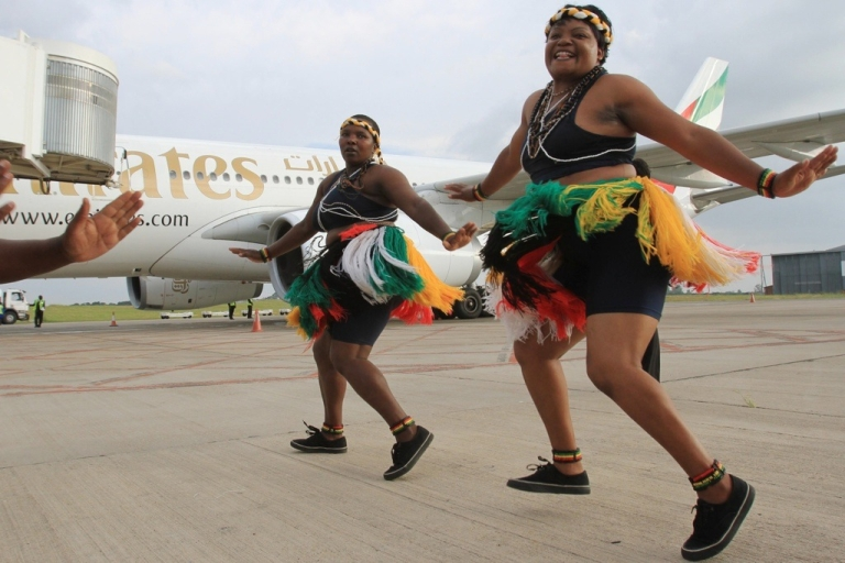 <p>A new low cost airline is to be launched in Africa. The continent does not have enough airline routes and Fastjet will open new flights connecting East, West and Southern Africa, say its founders. Here, traditional dancers in Zimbabwe welcome the arrival of an Airbus jet on February 1, 2012.</p>