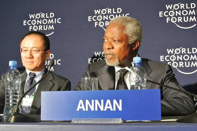 <p>Former UN Secretary General Kofi Annan, right, and the President of the Chinese Investment Corporation, Gao Xiqing at the World Economic Forum in Addis Ababa, on May 10, 2012. Eight African leaders and former British prime minister Gordon Brown are among the more than 700 participants expected at the three-day Addis Ababa meeting. The conference will focus on boosting public-private investment and fostering economic diversity to boost development across Africa.</p>