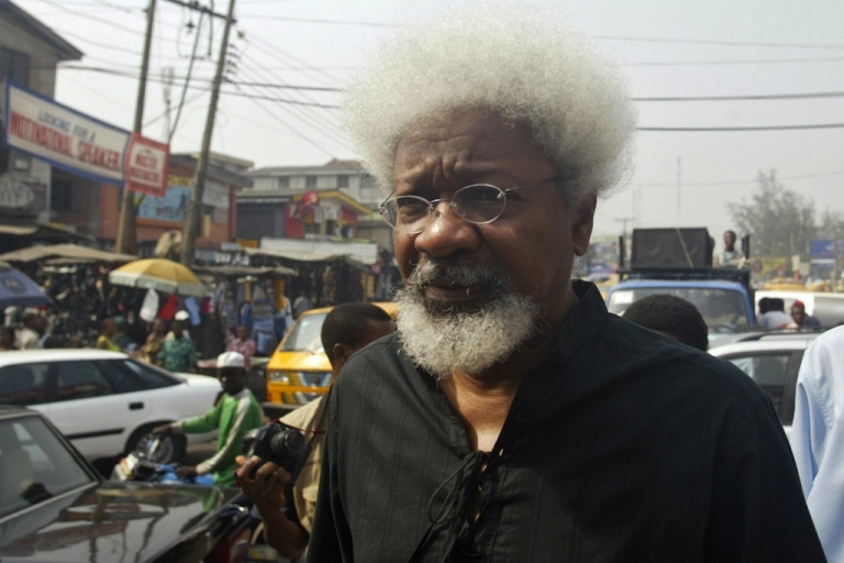 <p>Nobel Laureate Professor Wole Soyinka arrives to joint fellow activists for the protest march 11 December 2006 in Lagos. Civil rights activists marched through the streets of Lagos to protest the style of leadership of President Olusegun Obasanjo, including the on-going electronic voters registration which is believed could deny millions of eligible voters their right.</p>