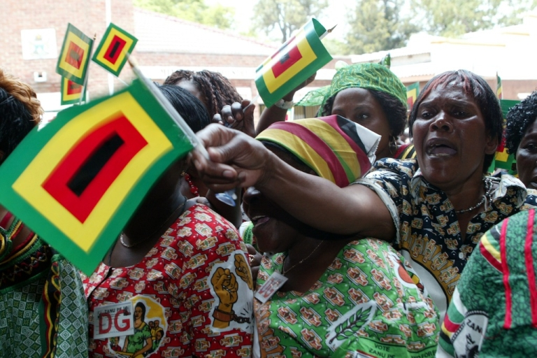 <p>ZANU PF supporters at the party's 12th National People's Conference in Bulawayo, Zimbabwe, on Dec. 8, 2011.</p>