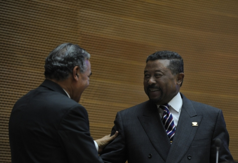 <p>African Union (AU) Commission Chairman Jean Ping (R) is congratulated on Jan. 31, 2012 in Addis Ababa following an extension of his mandate. Intense campaigns had preceded the vote and dominated the summit during which leaders gathered to discuss broadening trade within Africa and tackling conflict hot spots.</p>