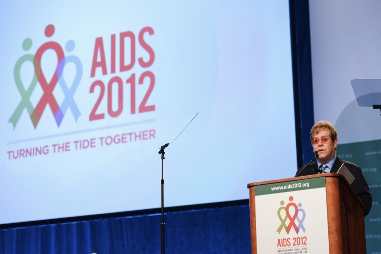 <p>Sir Elton John speaks at the 19th International AIDS Conference on July 23, 2012 in Washington, DC. The world now needs to focus on not just getting ahead of the epidemic and winning, but ending it for good.</p>