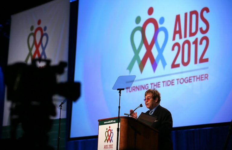 <p>Singer, songwriter and musician Elton John speaks during the 19th International AIDS Conference July 23, 2012 in Washington, DC. The International AIDS Conference, the world's largest, was held in the US for the first time since 1990.</p>