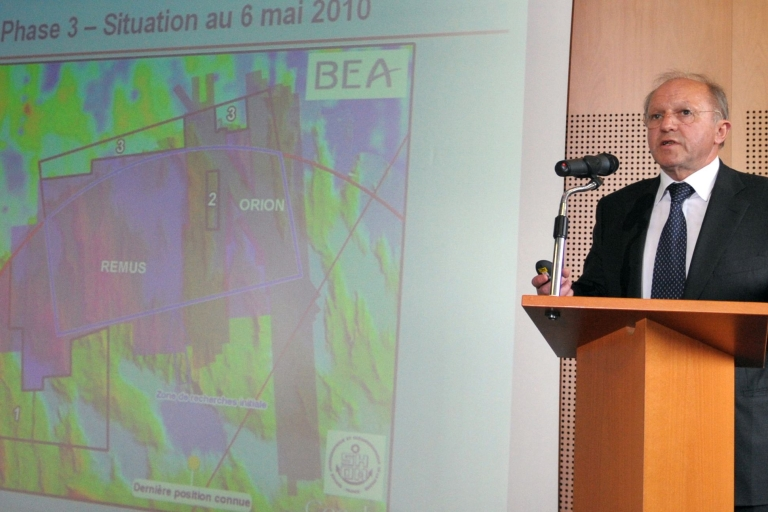 <p>Director of the Investigation and Analysis Bureau (BEA) Jean-Paul Troadec, head of the French office investigating the accident of the Air France airliner crash off Brazil, speaks at the BEA headquarters in le Bourget on May 10, 2010.</p>