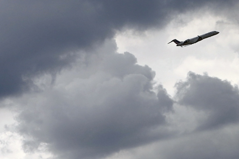 <p>A Bombardier Canadair Jet 700 airplane of Air France's subsidiary airline 'Regional' takes off from Paris Roissy Charles de Gaulle airport in Roissy-en-France, north of Paris on July 20, 2012.</p>