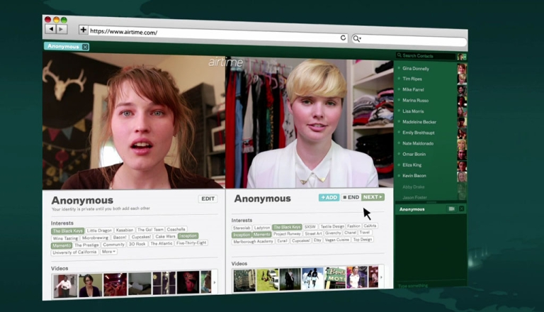 <p>Airtime, a new video chatting service that allows users to talk to other users at random, launched on Tuesday.</p>