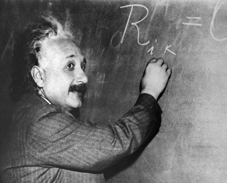 <p>Undated portrait taken in Princeton, NJ, of German-born Swiss-US physicist Albert Einstein (1879-1955), author of theory of relativity, at the blackboard.</p>