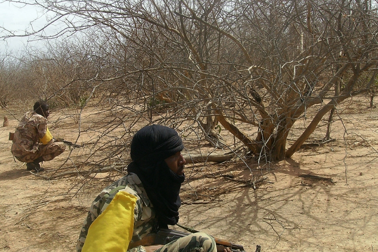<p>Malian troops check bushes on July 18, 2011, three weeks after a military raid dislodged Al-Qaeda in the Islamic Maghrab (AQIM) from its newly-built base in the Wagoudou forest. Situated 500km (300 miles) north-east of the Malian capital Bamako, on the border with Mauritania, the Wagadou Forest was to be used by AQIM as a base from which to carry out attacks in the region and store heavy weapons.</p>