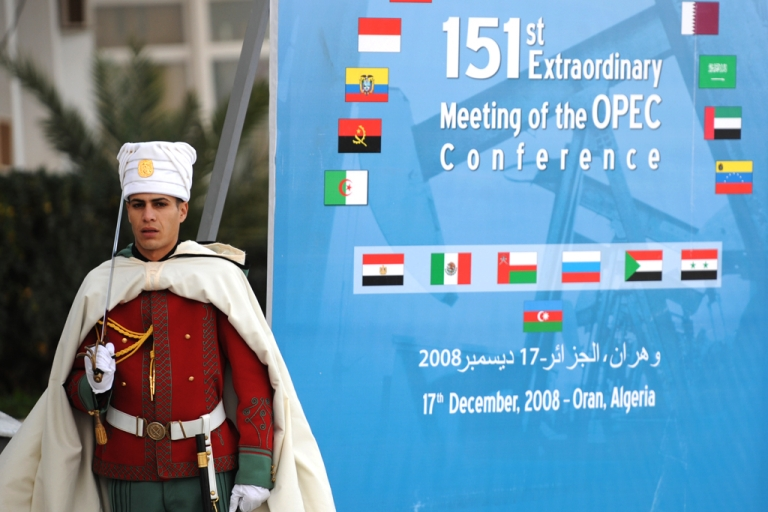 <p>An Algerian presidential guard stands on duty near a poster for The Organization of Petroleum Exporting Countries (OPEC) on December 16, 2008. Radical Islamists in Algeria reportedly seized foreign hostages from a BP facility near the town of In Amenas on January 16, 2013.</p>