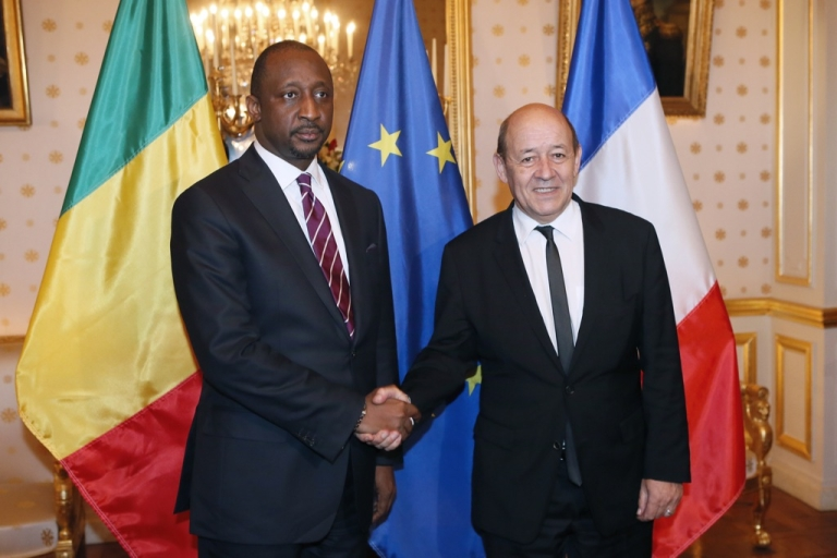 <p>French Defence Minister, Jean-Yves Le Drian welcomes Malian Foreign Affairs Minister Tieman Hubert Coulibaly before their meeting, on January 15, 2013 in Paris. Le Drien announced on Feb 26th that the French government would not negotiate with alleged Boko Haram hostage takers over the release of a French family of 7.</p>