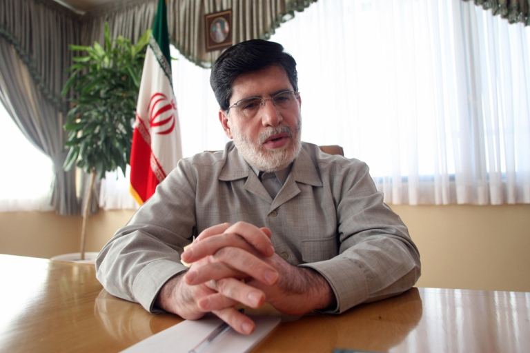 <p>Ali Akbar Javanfekr, Iranian President Mahmoud Ahmadinejad's top press adviser, in 2009. Javanfekr was arrested on September 26, 2012, and will serve a six-month jail sentence for publishing material that was deemed insulting to Iran's supreme leader.</p>