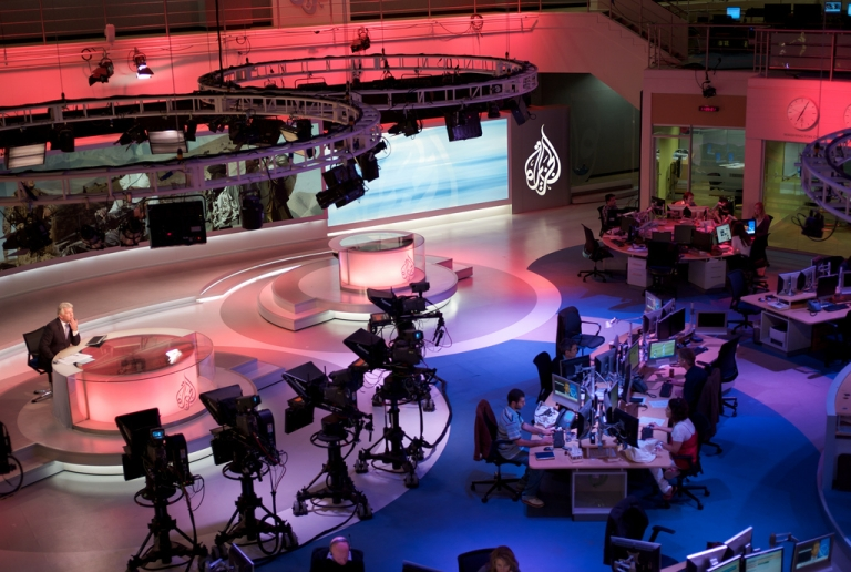 <p>The Al Jazeera English newsroom in Doha, Qatar.</p>