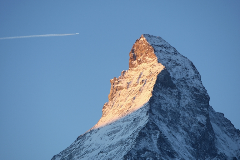 <p>Light from the rising sun in Zermatt, Switzerland catches the eastern face of the Matterhorn in December, 2007.</p>